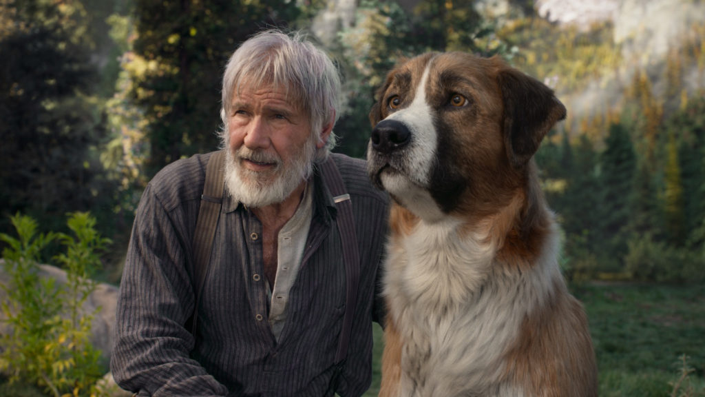 'The Call of the Wild' not using a real dog, Ford stands opposite an animated dog.